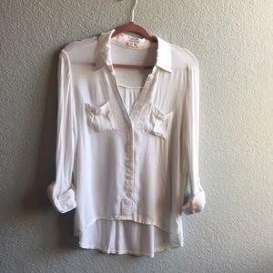 Button down Hi/Lo White blouse Size M